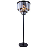 Elegant Lighting 1201FL20MB-SS/RC Sydney 63 inch 60 watt Matte Black Floor Lamp Portable Light in Silver Shade Urban Classic