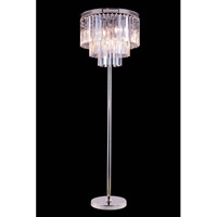 Elegant Lighting Urban 8 Light Floor Lamp in Polished Nickel with Royal Cut Clear Crystal 1201FL20PN/RC