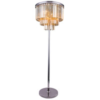 Elegant Lighting Sydney 8 Light Floor Lamp in Polished Nickel with Royal Cut Golden Teak Crystal 1201FL20PN-GT/RC