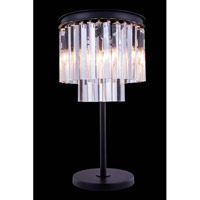 Elegant Lighting Urban 3 Light Table Lamp in Mocha Brown with Royal Cut Clear Crystal 1201TL14MB/RC