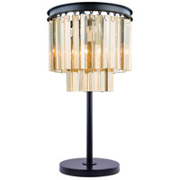 Urban Classic by Elegant Lighting Sydney 3 Light Table Lamp in Mocha Brown with Royal Cut Golden Teak Crystal 1201TL14MB-GT/RC