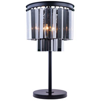 Urban Classic by Elegant Lighting Sydney 3 Light Table Lamp in Mocha Brown with Royal Cut Silver Shade Crystal 1201TL14MB-SS/RC