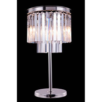 Elegant Lighting Urban 3 Light Table Lamp in Polished Nickel with Royal Cut Clear Crystal 1201TL14PN/RC