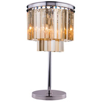 Urban Classic by Elegant Lighting Sydney 3 Light Table Lamp in Polished Nickel with Royal Cut Golden Teak Crystal 1201TL14PN-GT/RC