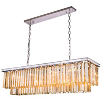 Urban Classic by Elegant Lighting Sydney 12 Light Pendant in Polished Nickel with Royal Cut Golden Teak Crystal 1202D50PN-GT/RC