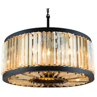 Urban Classic by Elegant Lighting Chelsea 8 Light Pendant in Mocha Brown with Royal Cut Golden Teak Crystal 1203D28MB-GT/RC