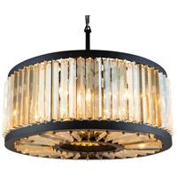 Elegant Lighting 1203D28MB-GT/RC Chelsea 8 Light 28 inch Matte Black Pendant Ceiling Light in Golden Teak Urban Classic