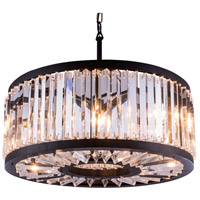 Elegant Lighting 1203D28MB/RC Chelsea 8 Light 28 inch Mocha Brown Pendant Ceiling Light in Clear, Urban Classic
