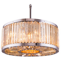 Urban Classic by Elegant Lighting Chelsea 8 Light Pendant in Polished Nickel with Royal Cut Golden Teak Crystal 1203D28PN-GT/RC