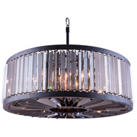 Chelsea 10 Light 36 inch Mocha Brown Pendant Ceiling Light in Silver Shade, Urban Classic