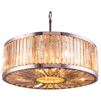 Urban Classic by Elegant Lighting Chelsea 10 Light Pendant in Polished Nickel with Royal Cut Golden Teak Crystal 1203D35PN-GT/RC