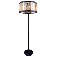 Elegant Lighting Chelsea 6 Light Floor Lamp in Mocha Brown with Royal Cut Golden Teak Crystal 1203FL25MB-GT/RC