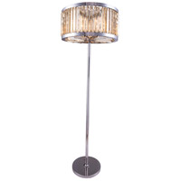 Urban Classic by Elegant Lighting Chelsea 6 Light Floor Lamp in Polished Nickel with Royal Cut Golden Teak Crystal 1203FL25PN-GT/RC