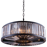 Chelsea 10 Light 44 inch Mocha Brown Pendant Ceiling Light in Silver Shade, Urban Classic