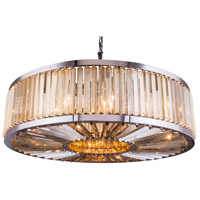 Urban Classic by Elegant Lighting Chelsea 10 Light Pendant in Polished Nickel with Royal Cut Golden Teak Crystal 1203G43PN-GT/RC