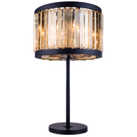 Urban Classic by Elegant Lighting Chelsea 4 Light Table Lamp in Mocha Brown with Royal Cut Golden Teak Crystal 1203TL18MB-GT/RC