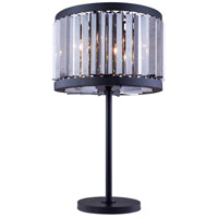 Urban Classic by Elegant Lighting Chelsea 4 Light Table Lamp in Mocha Brown with Royal Cut Silver Shade Crystal 1203TL18MB-SS/RC