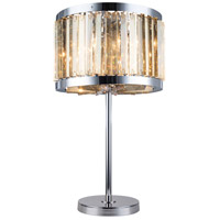 Urban Classic by Elegant Lighting Chelsea 4 Light Table Lamp in Polished Nickel with Royal Cut Golden Teak Crystal 1203TL18PN-GT/RC