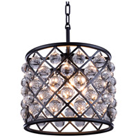 Elegant Lighting 1204D14MB/RC Madison 3 Light 14 inch Matte Black Pendant Ceiling Light in Clear, Smooth Royal Cut, Urban Classic