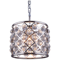 Elegant Lighting 1204D14PN/RC Madison 3 Light 14 inch Polished Nickel Pendant Ceiling Light in Clear, Smooth Royal Cut, Urban Classic