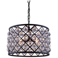 Elegant Lighting 1204D20MB/RC Madison 6 Light 20 inch Mocha Brown Pendant Ceiling Light in Clear, Smooth Royal Cut, Urban Classic