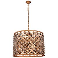 Elegant Lighting 1204D27GI/RC Madison 8 Light 28 inch Golden Iron Pendant Ceiling Light in Clear Smooth Royal Cut Urban Classic