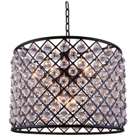 Madison 8 Light 28 inch Mocha Brown Pendant Ceiling Light in Clear, Smooth Royal Cut
