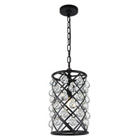 Elegant Lighting 1204D8MB/RC Madison 1 Light 8 inch Matte Black Pendant Ceiling Light, Urban Classic