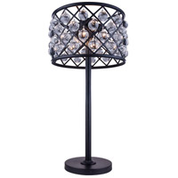 Elegant Lighting 1204TL15MB/RC Madison 32 inch 60 watt Matte Black Table Lamp Portable Light in Clear, Smooth Royal Cut, Urban Classic