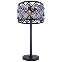Elegant Lighting 1204TL15MB/RC Madison 32 inch 60 watt Matte Black Table Lamp Portable Light in Clear Smooth Royal Cut Urban Classic