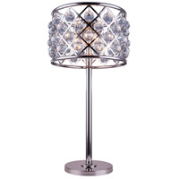 Elegant Lighting 1204TL15PN/RC Madison 32 inch 60 watt Polished Nickel Table Lamp Portable Light in Clear, Smooth Royal Cut, Urban Classic
