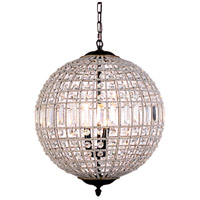 Urban Classic by Elegant Lighting Olivia 3 Light Pendant in Dark Bronze with Royal Cut Clear Crystal 1205D18DB/RC