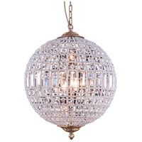 Elegant Lighting 1205D18FG/RC Olivia 3 Light 18 inch French Gold Pendant Ceiling Light, Urban Classic