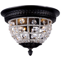 Urban Classic by Elegant Lighting Olivia 2 Light Flush Mount in Dark Bronze with Royal Cut Clear Crystal 1205F12DB/RC