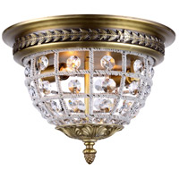Urban Classic by Elegant Lighting Olivia 2 Light Flush Mount in French Gold with Royal Cut Clear Crystal 1205F12FG/RC