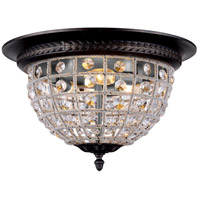 Urban Classic by Elegant Lighting Olivia 3 Light Flush Mount in Dark Bronze with Royal Cut Clear Crystal 1205F18DB/RC