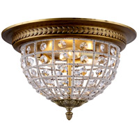 Urban Classic by Elegant Lighting Olivia 3 Light Flush Mount in French Gold with Royal Cut Clear Crystal 1205F18FG/RC