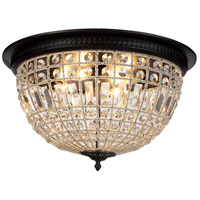 Urban Classic by Elegant Lighting Olivia 4 Light Flush Mount in Dark Bronze with Royal Cut Clear Crystal 1205F24DB/RC