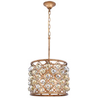 Madison 4 Light 14 inch Golden Iron Pendant Ceiling Light in Golden Teak, Faceted Royal Cut, Urban Classic