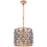 Elegant Lighting 1206D14GI-SS/RC Madison 4 Light 14 inch Golden Iron Pendant Ceiling Light in Silver Shade Faceted Royal Cut Urban Classic