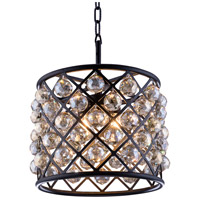 Urban Classic by Elegant Lighting Madison 4 Light Pendant in Mocha Brown with Royal Cut Golden Teak Crystal 1206D14MB-GT/RC