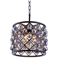 Madison 4 Light 14 inch Matte Black Pendant Ceiling Light in Silver Shade, Faceted Royal Cut, Urban Classic