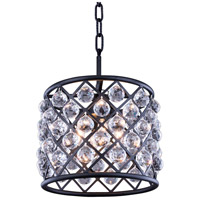 Madison 4 Light 14 inch Matte Black Pendant Ceiling Light in Clear, Faceted Royal Cut, Urban Classic