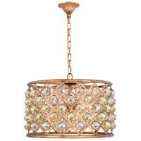 Elegant Lighting 1206D20GI-GT/RC Madison 6 Light 20 inch Golden Iron Pendant Ceiling Light in Golden Teak Faceted Royal Cut Urban Classic