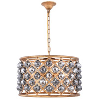 Elegant Lighting 1206D20GI-SS/RC Madison 6 Light 20 inch Golden Iron Pendant Ceiling Light in Silver Shade Faceted Royal Cut Urban Classic
