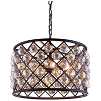 Madison 6 Light 20 inch Mocha Brown Pendant Ceiling Light in Golden Teak, Faceted Royal Cut
