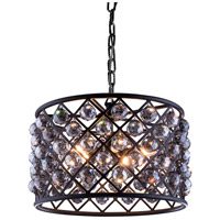 Madison 6 Light 20 inch Mocha Brown Pendant Ceiling Light in Silver Shade, Faceted Royal Cut