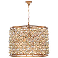 Elegant Lighting 1206D27GI-GT/RC Madison 8 Light 28 inch Golden Iron Pendant Ceiling Light in Golden Teak Faceted Royal Cut Urban Classic