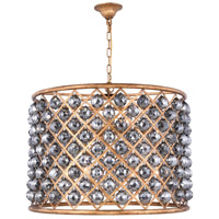 Madison 8 Light 28 inch Golden Iron Pendant Ceiling Light in Silver Shade, Faceted Royal Cut, Urban Classic