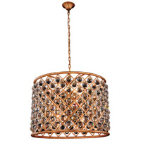 Elegant Lighting 1206D27GI/RC Madison 8 Light 28 inch Golden Iron Pendant Ceiling Light in Clear Faceted Royal Cut Urban Classic